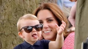 Duchess Catherine and Prince Louis attending a polo match on July 10th, 2019