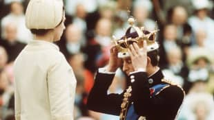 Queen Elizabeth II and Prince Charles at the Investiture of The Prince of Wales in 1969.