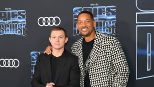 Tom Holland and Will Smith at the premiere of Spies in Disguise.