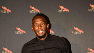 Usain Bolt celebrates the launch of Unprecedented Gravity Bottle at Caveau Lalou on September 12, 2018