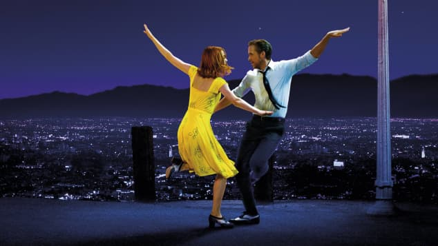 "Emma Stone and Ryan Gosling in the film, ""La La Land""."