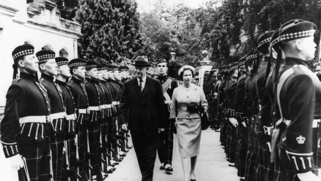 Dwight D. Eisenhower and Queen Elizabeth II.