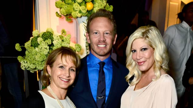 """Beverly Hills 90210"" stars Gabrielle Carteris, Ian Ziering, and Tori Spelling"