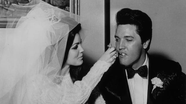 Elvis and Priscilla Presley at their wedding in Las Vegas.
