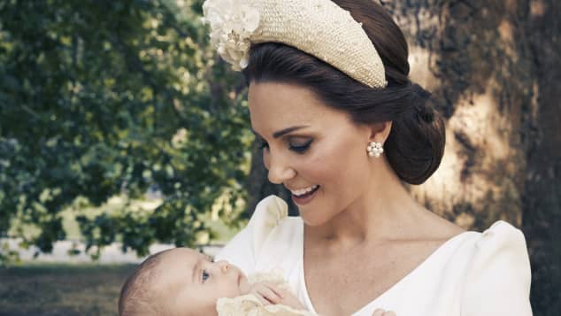 Duchess Catherine and Prince Louis at his christening