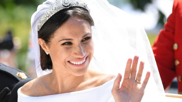 Duchess Meghan on her wedding day looked stunning tiara