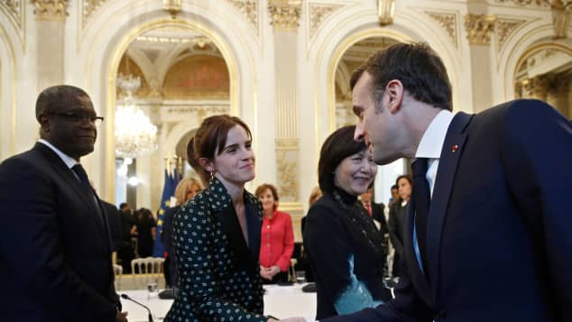 Actress Emma Watson meets French President Emmanuel Macron in Paris, France.