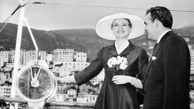 Grace Kelly and Prince Rainier of Monaco aboard a yacht in 1956.