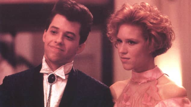 Jon Cryer and Molly Ringwald in the 1986 comedy drama Pretty in Pink.