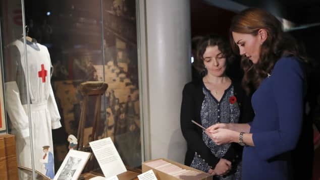 The Duchess of Cambridge reading letters at the Imperial War Museum