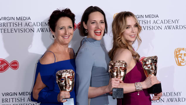 Fiona Shaw, Phoebe Waller-Bridge, and Jodie Comer with 2019 BAFTA wins.