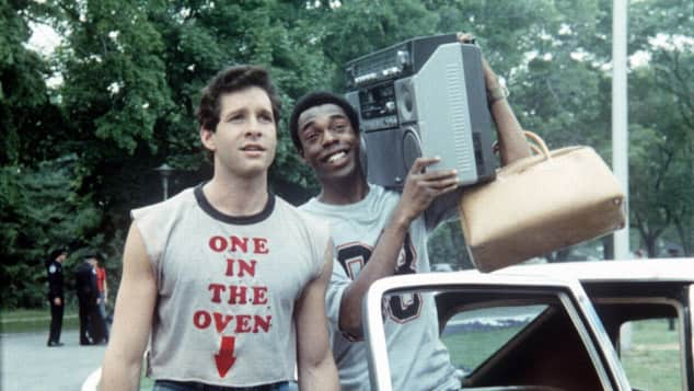 Steve Guttenberg and Michael Winslow in Police Academy. 1984
