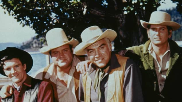 'Bonanza' cast David Canary, Dan Blocker, Lorne Greene & Michael Landon 1967
