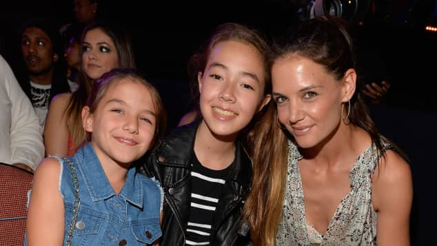Katie Holmes with her daughter Suri Cruise at the Kids Choice Awards.