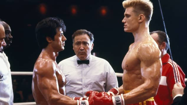 """Sylvester Stallone and Dolph Lundgren in """"Rocky"""""""