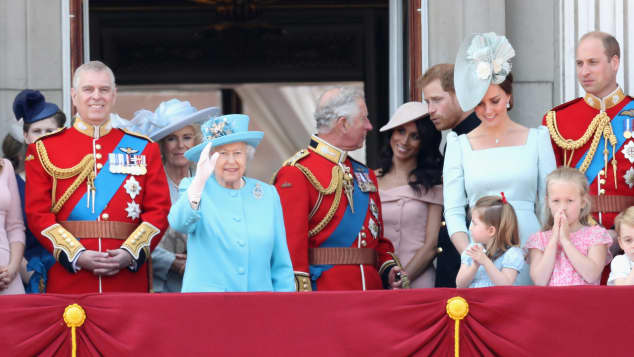 The Royal Family watch the flypast on the balcony of Buckingham Palace during Trooping The Colour on 9th June 2018