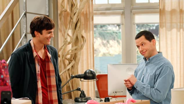 'Two and a Half Men': cast Ashton Kutcher and Jon Cryer (2012).
