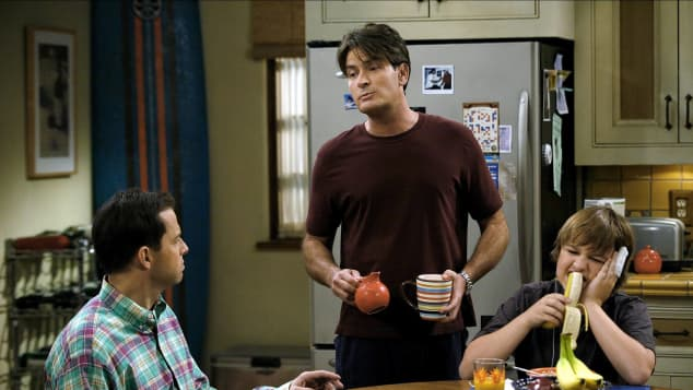 Two and a Half Men cast Jon Cryer, Charlie Sheen and Angus T. Jones.