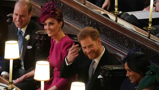 Prince William, Duchess Kate, Prince Harry and Duchess Meghan at Princess Eugenie's wedding