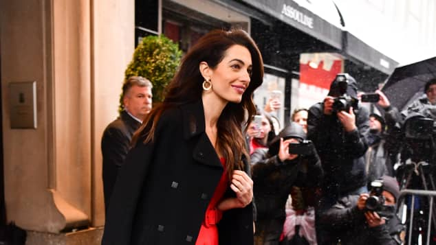 Amal Clooney leaves The Mark Hotel after attending Meghan's baby shower