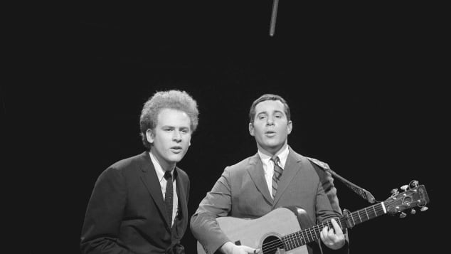 Simon & Garfunkel performing on The Ed Sullivan Show in 1966.
