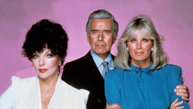 Joan Collins, John Forsythe and Linda Evans in Dynasty.