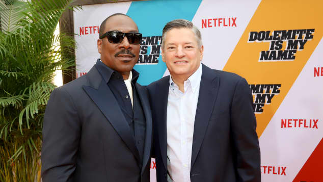 Eddie Murphy and Ted Sarandos at the Dolemite Is My Name premiere in 2019.