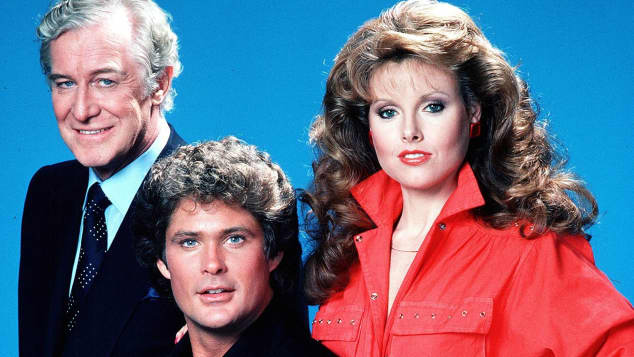 Edward Mulhare, David Hasselhoff and Rebecca Holden in 'Knight Rider'.