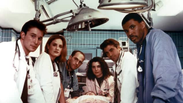 E.R. Cast in 1994 George Clooney, Anthony Edwards, Noah Wyle, Sherry Stringfield, Eriq La Salle, Julianna Margulies