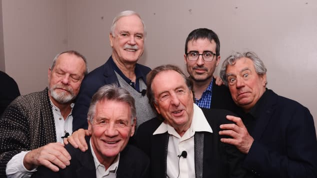 Terry Gilliam, Michael Palin, John Cleese, Eric Idle, John Oliver, and Terry Jones in 2015