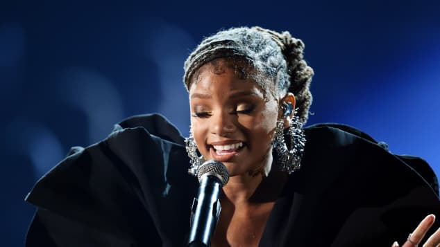 Halle Bailey performing at the 61st Annual Grammys