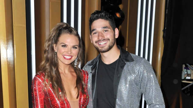 "Hannah Brown and Alan Bersten attend the ""Dancing With The Stars"" Season 28 show at CBS Television City on September 16, 2019"