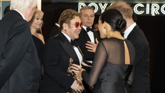 Prince Harry, Duchess Meghan and Elton John at the London premiere of The Lion King