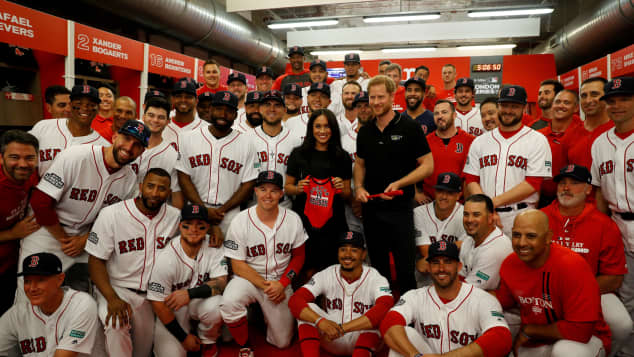 Prince Harry and Duchess Meghan with the Boston Red Sox