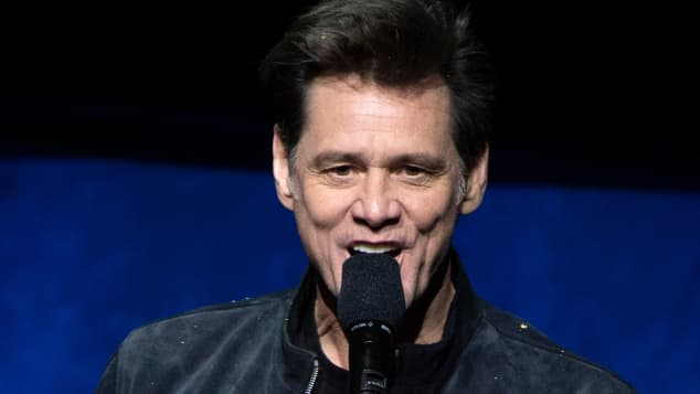 Jim Carrey on stage at the 2019 CinemaCon in Las Vegas, Nevada.