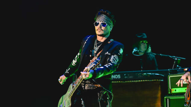 Johnny Depp performing with the 'Hollywood Vampires' in May 2019