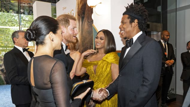 Prince Harry, Duchess Meghan, Beyonce and Jay-Z at the London premiere of The Lion King