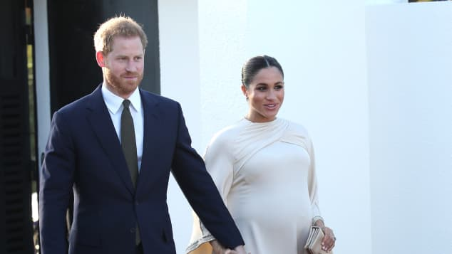Prince Harry and Duchess Meghan arrive at a reception hosted by the British Ambassador to Morocco at the British Residence