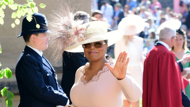Oprah Winfrey enters the St George's Chapel at Windsor Castle for Prince Harry and Meghan Markle's wedding in May of 2018.