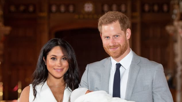 Prince Harry and Duchess Meghan with their son Archie