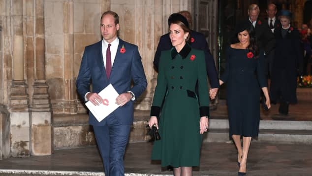 Prince William and Duchess Catherine leave after attending a service marking the centenary of WW1 armistice at Westminster Abbey