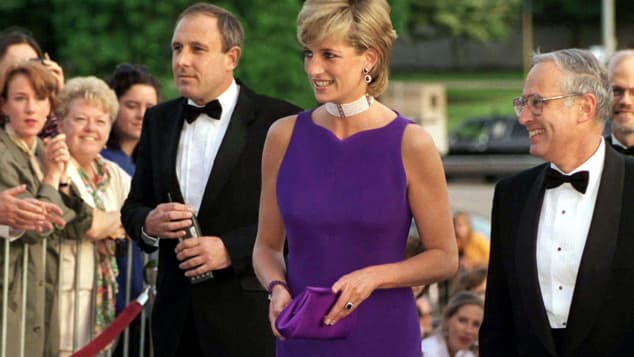 Princess Diana arriving for a gala dinner at Northwestern University in 1996