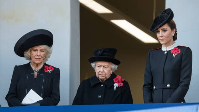 Queen Elizabeth II with the Duchess of Cornwall and the Duchess of Cambridge during the annual Remembrance Sunday memorial at the Cenotaph