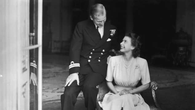 Queen Elizabeth and Prince Philip at Buckingham Palace just after their engagement was announced in 1947