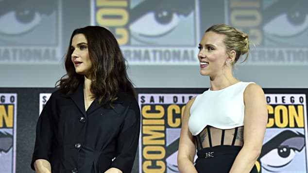 Scarlett Johoansson and Rachel Weisz at Comic-Con 2019