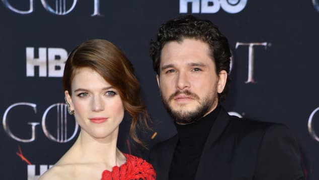 Rose Leslie and Kit Harington at the Season 8 Premiere Event of HBO's Game of Thrones at Radio City Music Hall in New York City