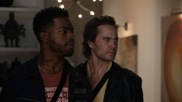 Taylor Kitsch and Stephan James in 21 Bridges.