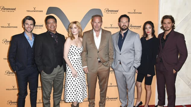 The cast of Yellowstone at the season 2 premiere at Paramount Studios.