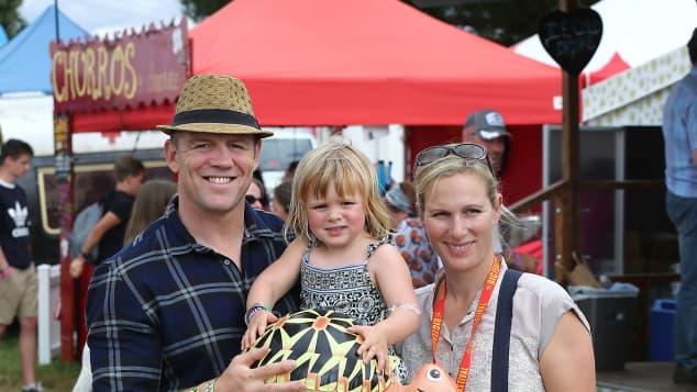 Mike, Zara and Mia Tindall pose for a photograph during day three of The Big Feastival at Alex James' Farm on August 28, 2016 in Kingham, Oxfordshire