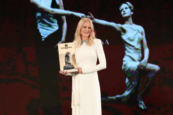 Nicole Kidman receiving the Taormina Arte Award in Taormina, Italy, July 2019.